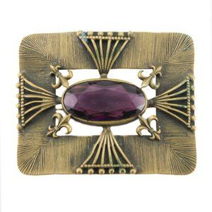 Antique Victorian Brass and Amethyst Brooch